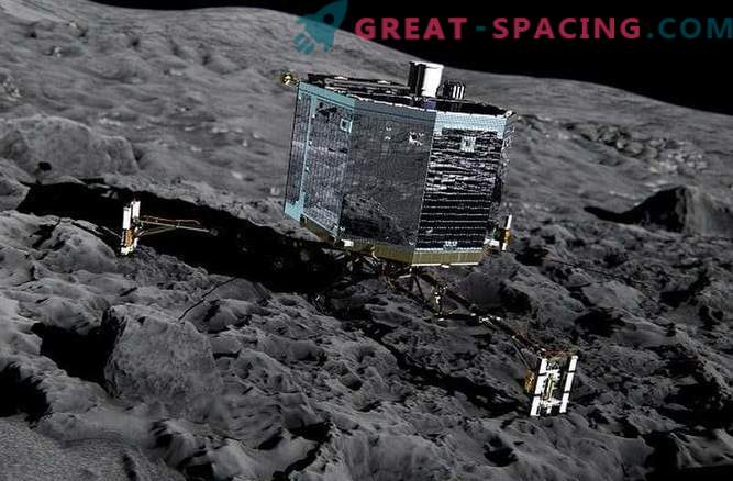 Translation of the landing of the Philae module on the surface of the comet Churyumov-Gerasimenko