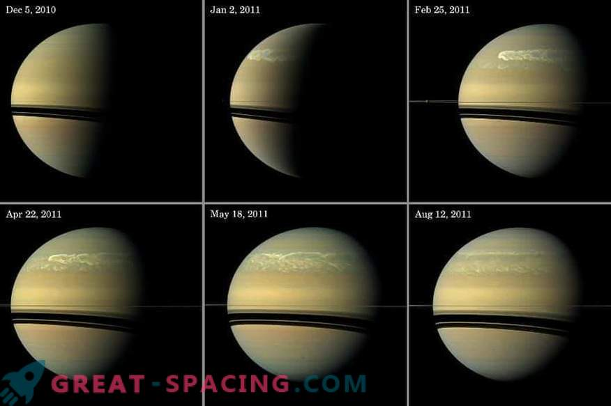 Large-scale storms shake the atmosphere of Saturn