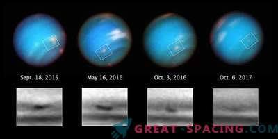 Hubble watches the strange storm of Neptune