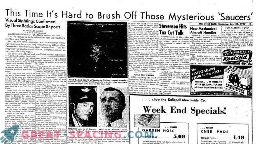 As described by unidentified objects in 1952 over Washington. Newspaper articles