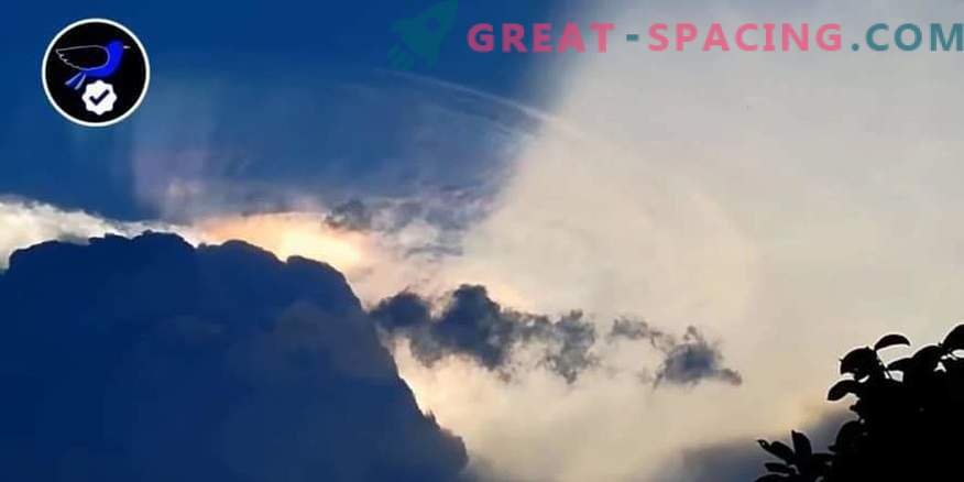 A giant alien ship trying to hide in a cloud over the Philippines