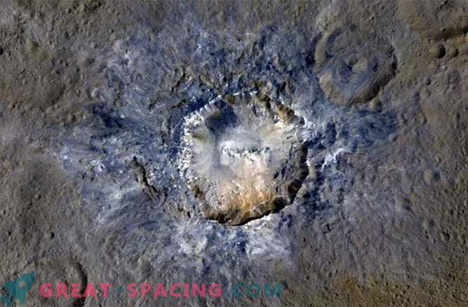 The polygonal crater shows the rifts of Ceres