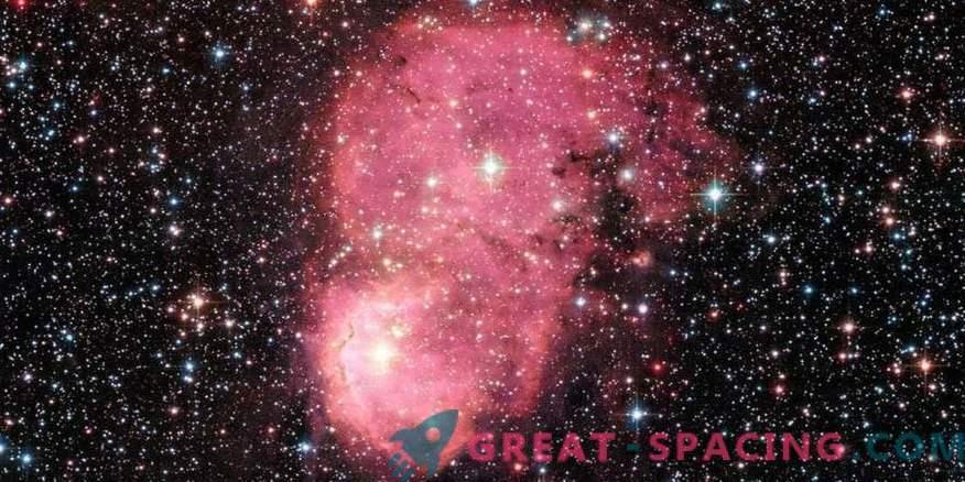 Festive glowing galactic nebula for Hubble