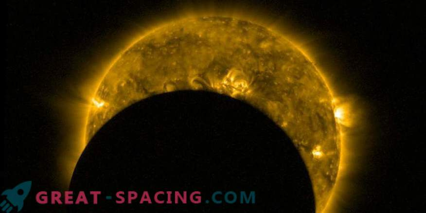 View from space: partial solar eclipse