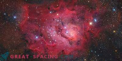 Laguna Nebula on a Starry Background