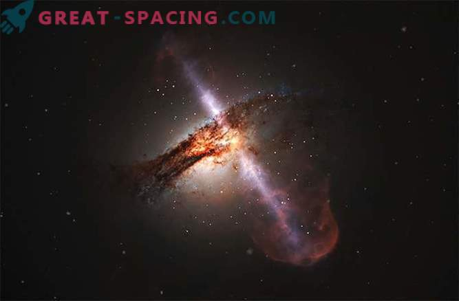 Colliding galaxies can erupt with powerful jets