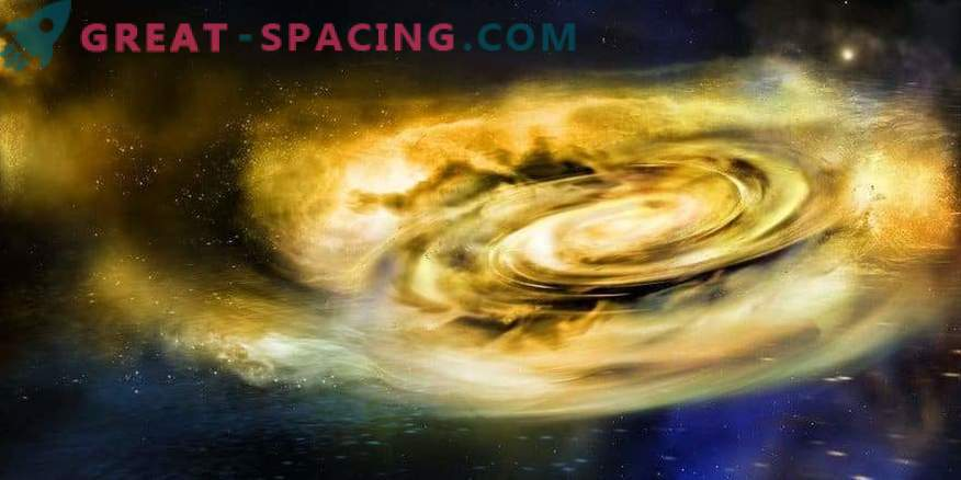 The first evidence of the presence of winds outside of black holes at the time of feeding