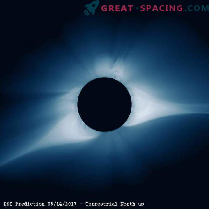 Computer model of the coming solar eclipse