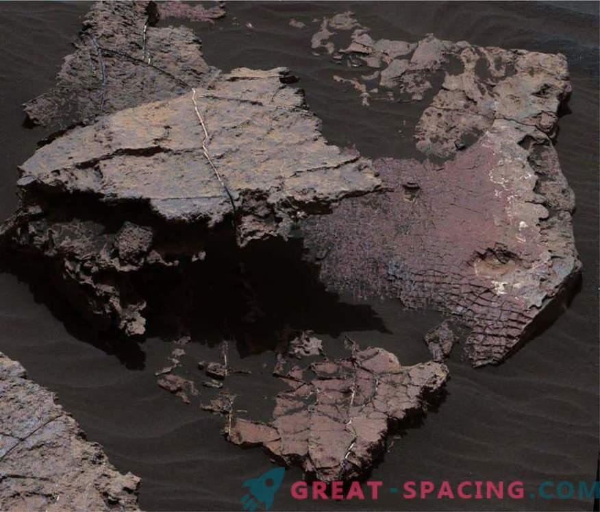 Dry cracks determine the shape of water on Mars