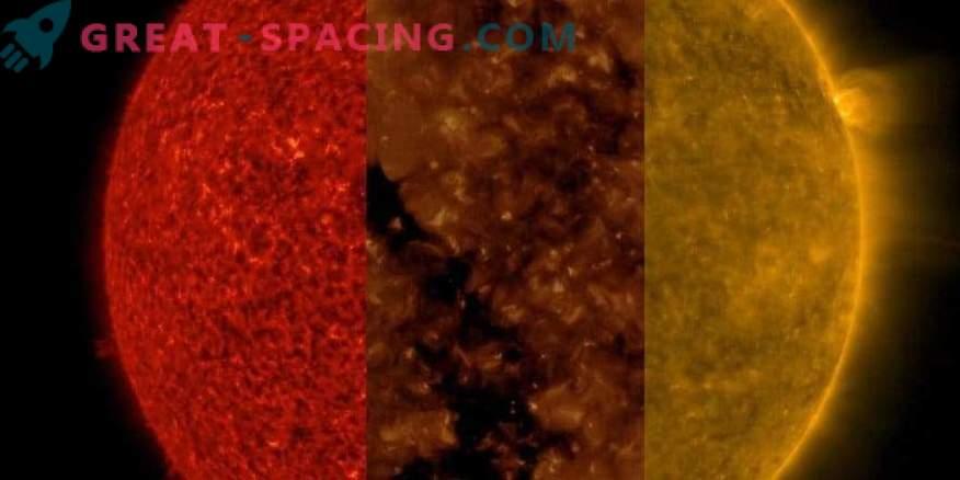 Sun at three different wavelengths