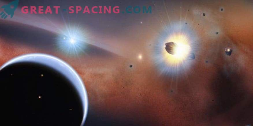 Collisions of a comet swarm are observed in the neighboring solar system