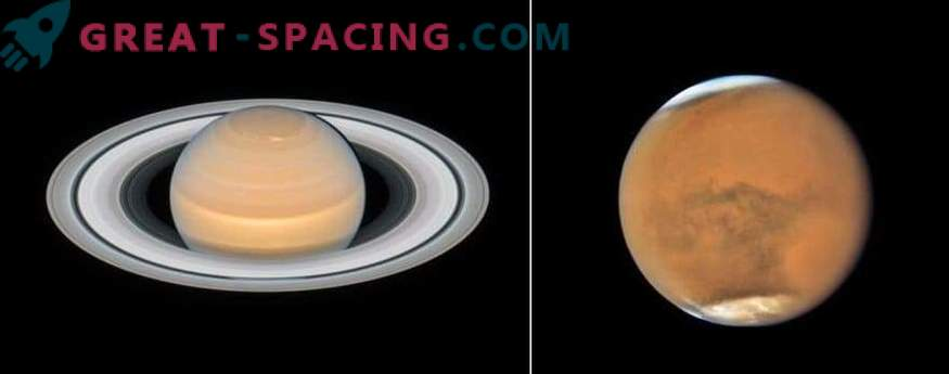 New images of Mars and Saturn from Hubble