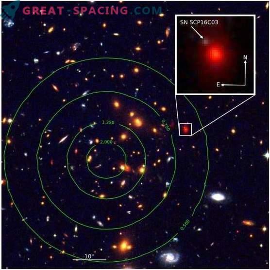 Gravitational lensing found supernova