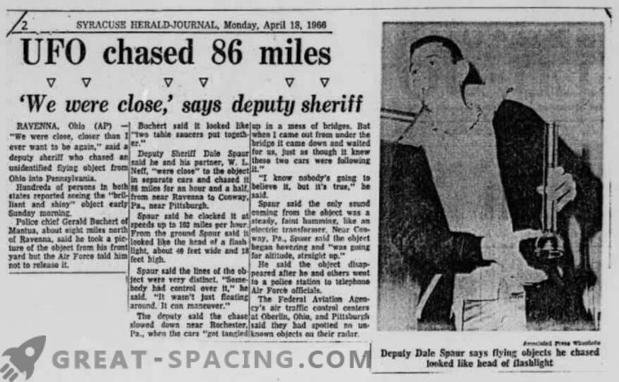 The incident in Portridge - 1966. The police described the pursuit of an unidentified object